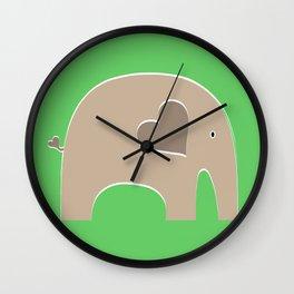 Green Safari Elephant Wall Clock