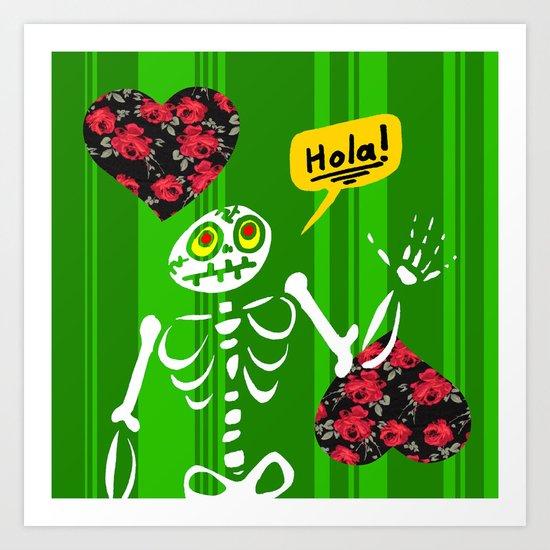 Hello Skeleton Art Print