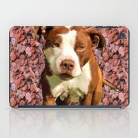 pitbull iPad Cases featuring Pitbull on Pink Background by Crayle Vanest