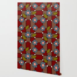 Retro Doodle Flower Style Quilt - Dark Red Brown Blue Wallpaper