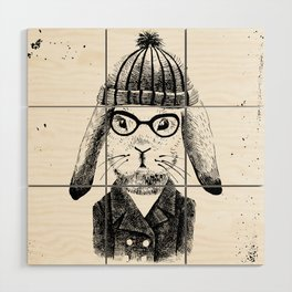 Hiphop Beanie Bunny Top Wood Wall Art
