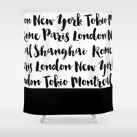 cities Shower Curtains featuring cities by bloombw