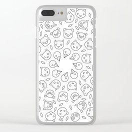 Black & White Animal Face Mandala Clear iPhone Case