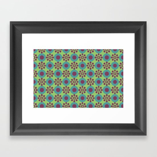 Retro Modern Flower Power Framed Art Print