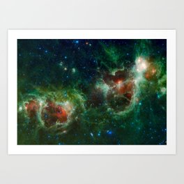 The Heart and Soul nebulae (NASA's Wide-field Infrared Survey Explorer) Art Print