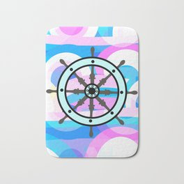 Ship's wheel on abstract marine background Bath Mat