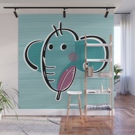 Elephant Holding a Feather Wall Mural
