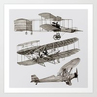 airplanes Art Prints featuring airplanes 3 by Кaterina Кalinich