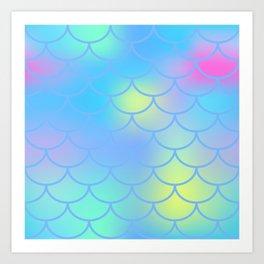 Turquoise Mermaid Pattern Art Print