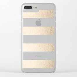 Simply Stripes in White Gold Sands Clear iPhone Case
