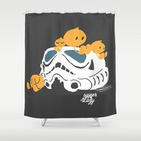 storm trooper Shower Curtains featuring Let's play storm trooper by inkdesigner