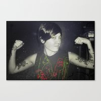 tegan and sara Canvas Prints featuring Tegan by Virginie Le Guen-Bertheaume