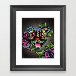 Smiling Pit Bull in Black - Day of the Dead Pitbull Sugar Skull Framed Art Print