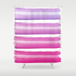 Simply hand painted pink and magenta stripes on white background  2 - Mix and Match Shower Curtain