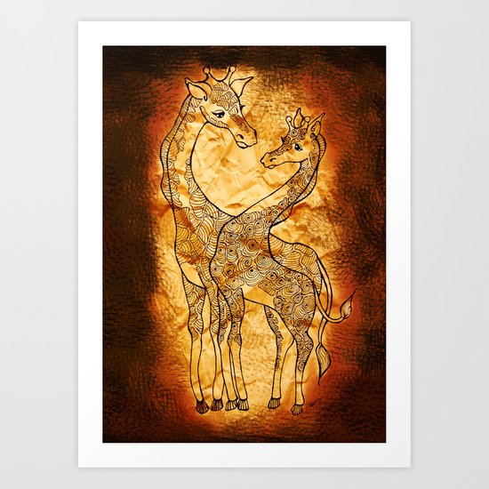 Henna Giraffe Art Print