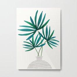 Fan Palm Fronds / Tropical Plant Illustration Metal Print