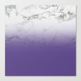 Modern white marble ultra violet purple ombre gradient Canvas Print
