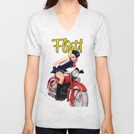 Retro Motorcycle Pinup Girl Unisex V-Neck