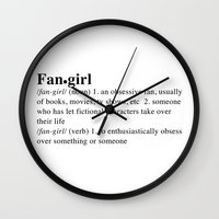 fangirl Wall Clocks featuring fangirl by maysillee