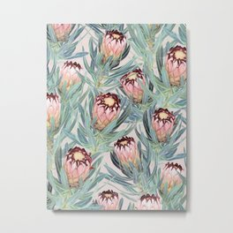 Pale Painted Protea Neriifolia Metal Print