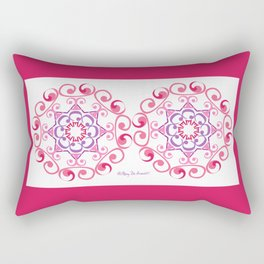 Grace Mandala x 2 - Pink White Rectangular Pillow