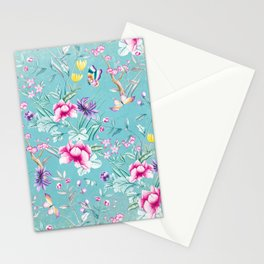 Pastel Teal Vintage Roses and Butterflies Pattern Stationery Cards