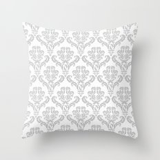 DAMASK GREY Throw Pillow