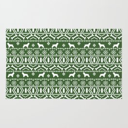 Cocker Spaniel fair isle christmas pattern dog breed holiday gifts green and white Rug