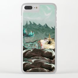 Behold the Mythical Merkitticorn - Mermaid Kitty Cat Unicorn Clear iPhone Case