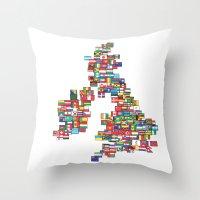 uk Throw Pillows featuring UK by John Choi King