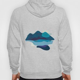 Abstract Mountains Landscape in Blue Hoody
