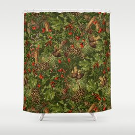 Traditional Holly Christmas Pattern Shower Curtain