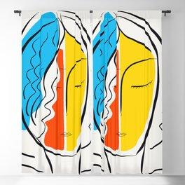 Graphic Minimal Portrait Design Orange Yellow and Blue Blackout Curtain