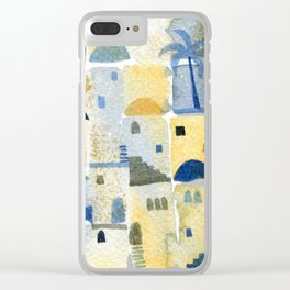 Morning Middle Eastern Town Watercolor Clear iPhone Case