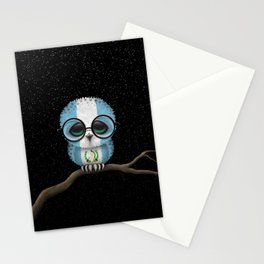 Baby Owl with Glasses and Guatemalan Flag Stationery Cards