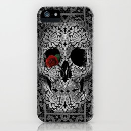 lace floral skull iPhone Case