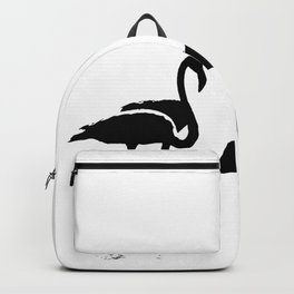 Three Flamingos Black Silhouette Isolated Backpack