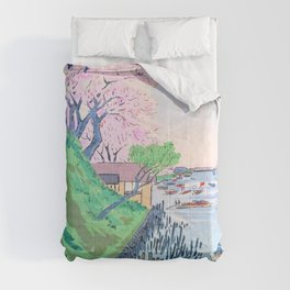 Kobayashi Kiyochika - Sketches of the Famous Sights of Japan - Sumida River - Digital Remastered Edition Comforters