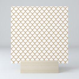 Scales (Tan & White Pattern) Mini Art Print