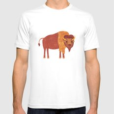 Bison White Mens Fitted Tee MEDIUM
