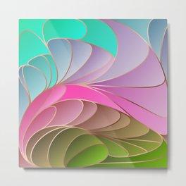 Pink Green Art Nouveau Metal Print