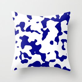Large Spots - White and Dark Blue Throw Pillow