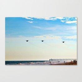 Choppers Over Beach Canvas Print