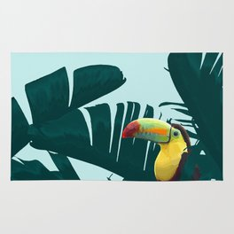 Green Toucan Tropical Banana Leaves Pattern Rug