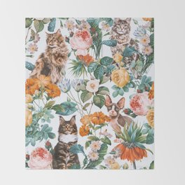 Cat and Floral Pattern III Throw Blanket