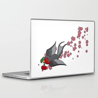 swallow Laptop & iPad Skins featuring Grey Swallow by Jelly Roger