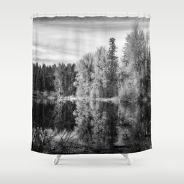 Autumn Makes an Appearance at Fish Lake bw Shower Curtain
