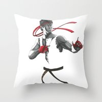 street fighter Throw Pillows featuring Ryu Street Fighter by Papan Seniman