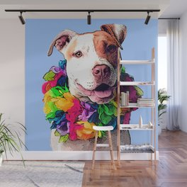 Dog in Flowers Wall Mural