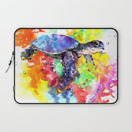 Sea Turtle in Coral Reef design, sea world colorful coral sea world design Laptop Sleeve